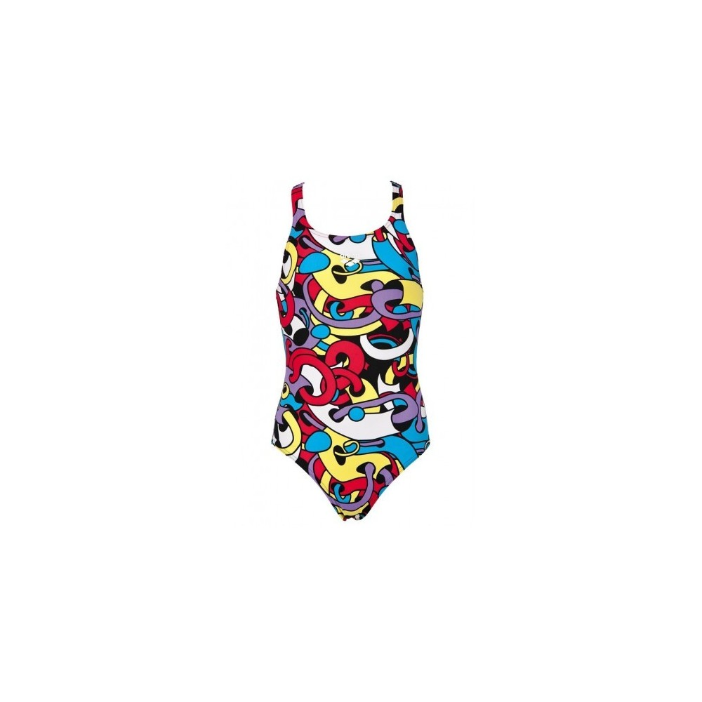 ARENA STRÓJ KOSTIUM JUNIOR CORES NEW V BACK ONE PIECE RED TURQUOISE MULTI WZROST 128CM