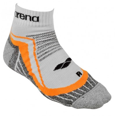 ARENA SKARPETKI RUNNING MID REFLECTIVE 1 PACK WHITE ORANGE ROZMIAR L 43-46