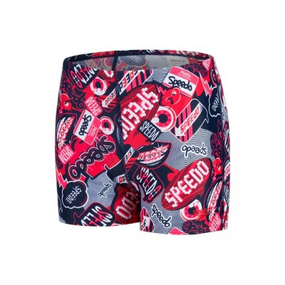 SPEEDO SPODENKI JUNIOR BOKSERKI BOY ALL OVER AQUASHORT NAVY-RED WZROST 140CM