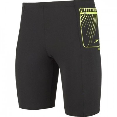 SPEEDO JAMMER SPODENKI MEN CONTRAST POCKET JAMMER BLACK-FLUO GREEN ROZMIAR D5